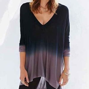 Pins and Needles Ombre V Neck Dip Dye Tent Top